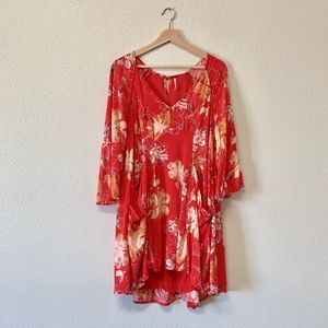 Free People Floral Bell Sleeve Dress